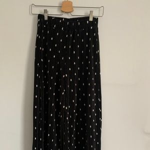 Zara Polka Dot Plissé Cropped Pleated Wide Pants